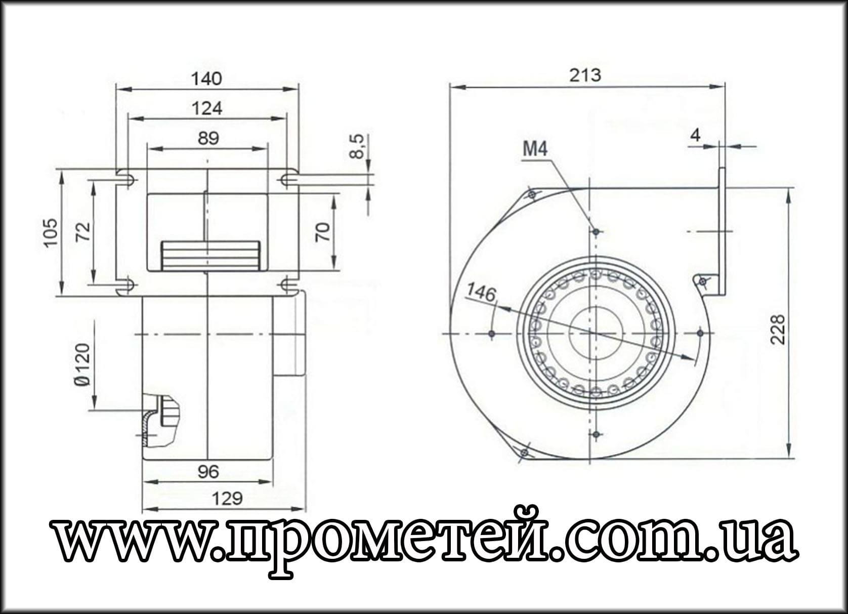 Габаритные размеры вентилятора MplusM WPA 145