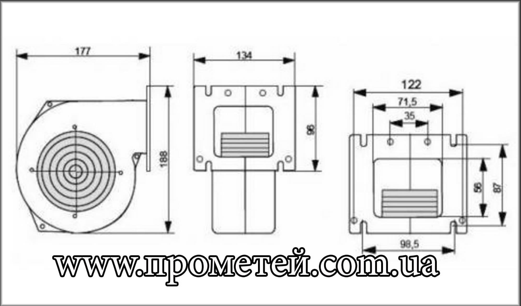 Габаритные размеры вентилятора Новосолар NWS 79