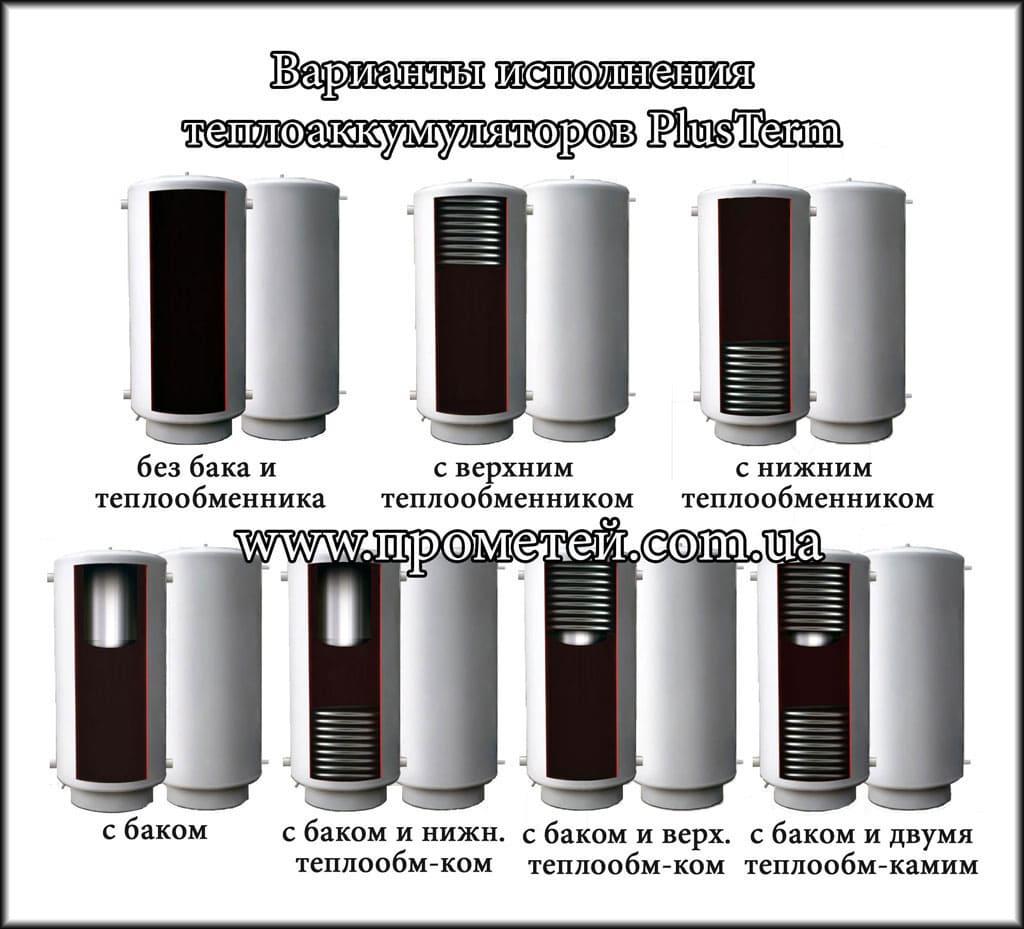 Теплоаккумуляторы PlusTerm: варианты исполнения